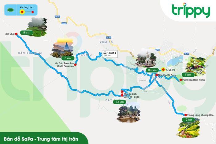Bản đồ du lịch Sapa khu vực trung tâm thị trấn