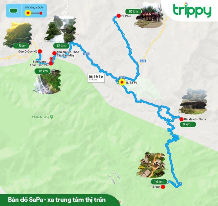 Bản đồ du lịch Sapa khu vực xa trung tâm thị trấn