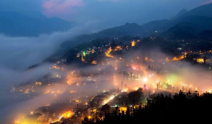 Thị trấn Sapa lung linh về đêm