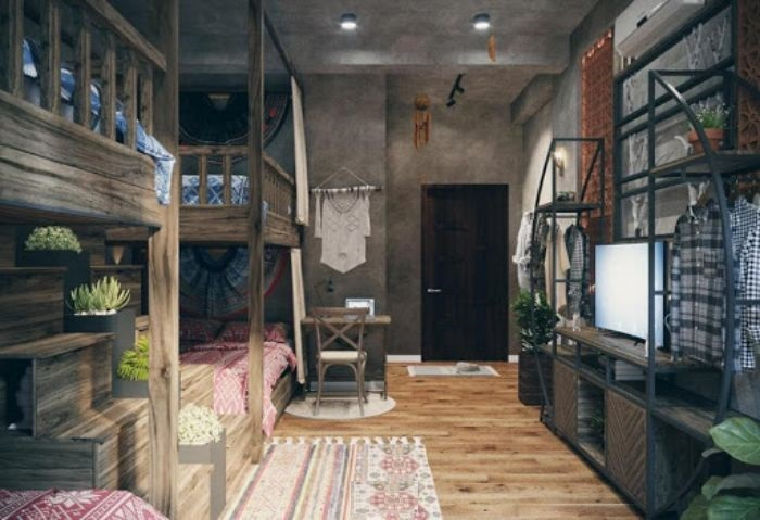 Homestay theo phong cách Rustic cho thấy sự đơn giản