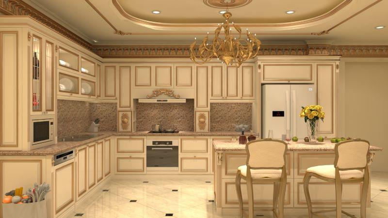 Tủ bếp phong cách tân cổ điển
