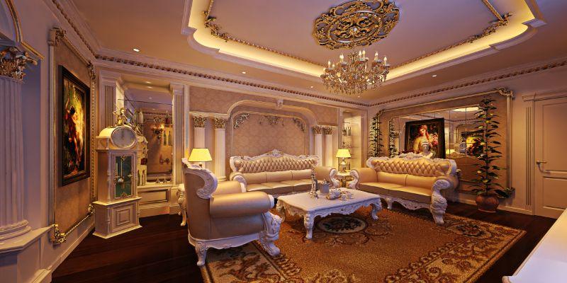 Sự kết hợp hài hòa của màu sắc tạo ra sự sang trọng và tinh tế của phòng khách