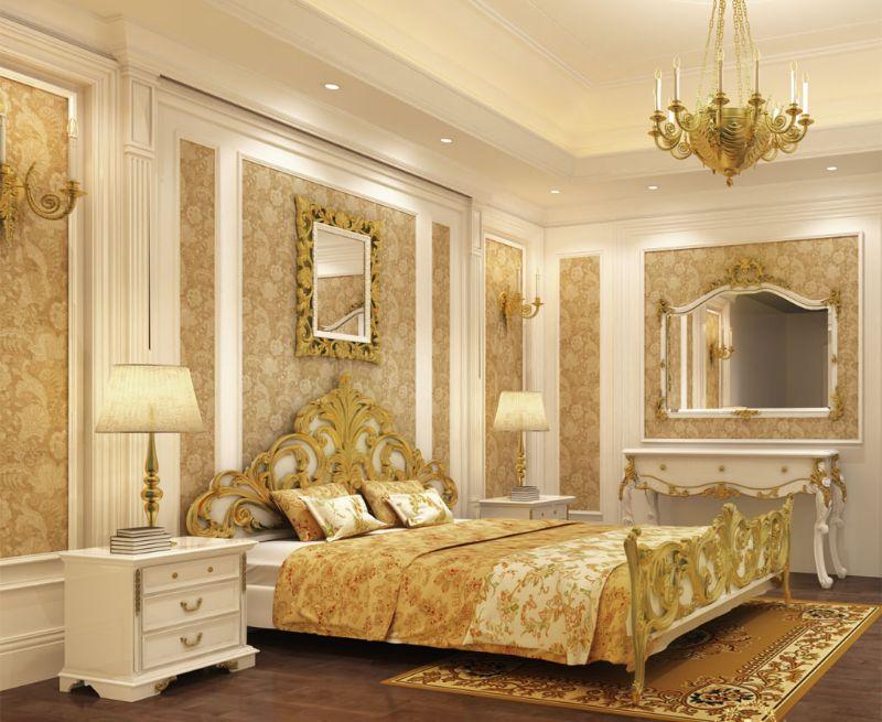 Phòng ngủ một khách sạn 5 sao có phong cách thiết kế tân cổ điển