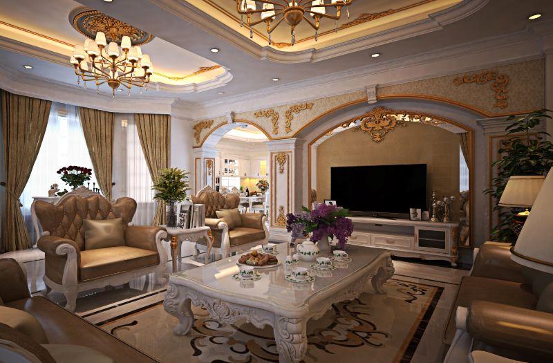 Phòng khách sang trọng với nội thất tân cổ điển
