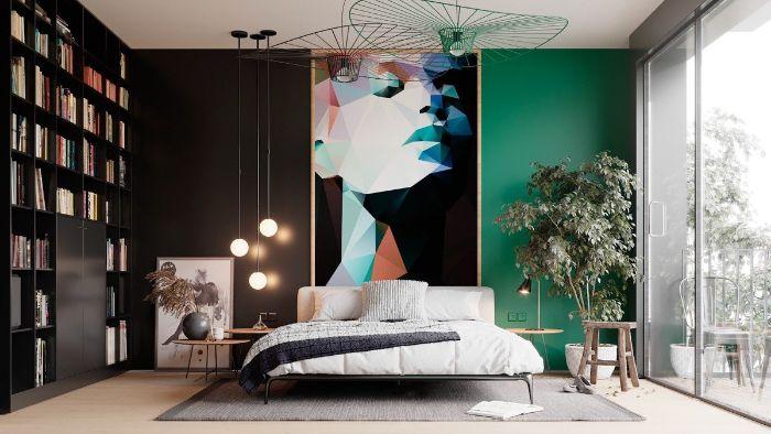 Thiết kế nội thất phòng ngủ theo màu sắc tối giản kết hợp bức tranh nghệ thuật phía trên đầu giường làm tăng tính sáng tạo.