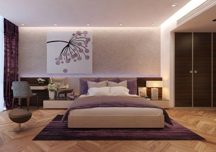 Thiết kế nội thất phòng ngủ theo gam màu tím ấm áp cho vợ chồng