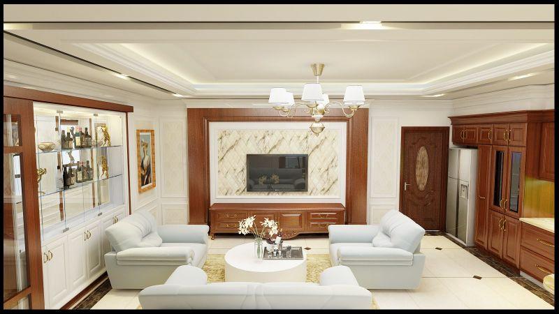 Một thiết kế nội thất phòng khách tân cổ điển đơn giản và thanh lịch