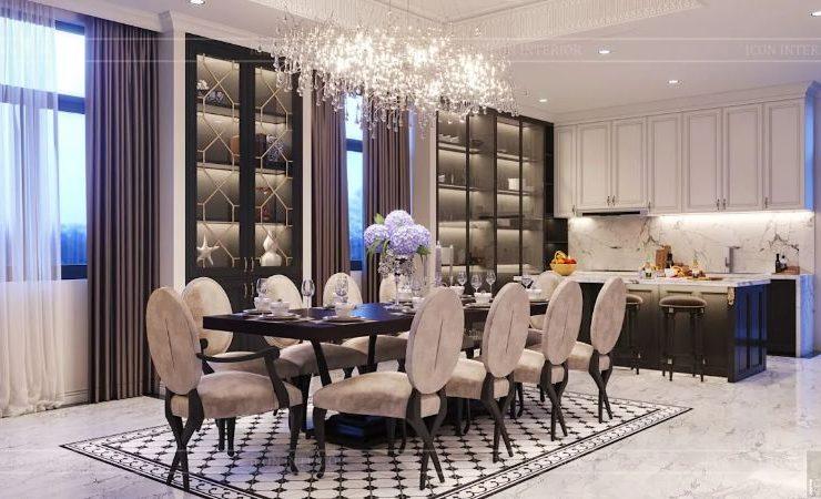 Phòng ăn đẳng cấp và sang trọng với nội thất tân cổ điển